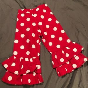 Other - OMG Red  Ruffle Pants with Polka Dots T2-T3